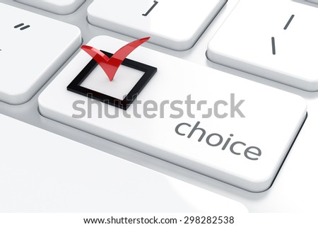 3d render of red check mark on the computer keyboard. Choice concept - stock photo