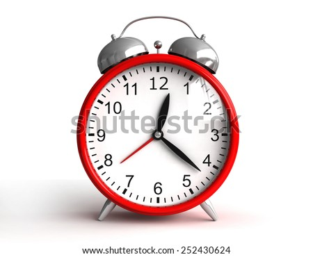 3d render of red clock on cyan background - stock photo
