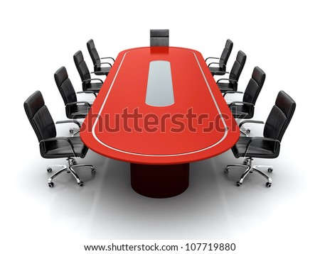 3D render of red conference table with black leather chairs on white background - stock photo