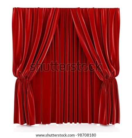 3d render of red curtain isolated at white background - stock photo