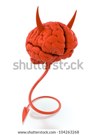 3D render of red devil brain on white background - stock photo