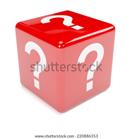3d render of red dice marked with a question mark