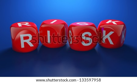 3d render of red dices with RISK text - stock photo
