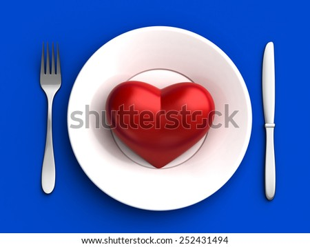 3d render of red heart in plate - stock photo