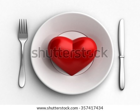 3d render of red heart in white plate