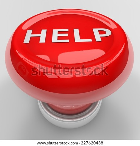 3d render of red help panic button - stock photo
