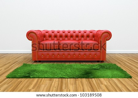 3D render of red leather sofa and green carpet on wooden parquet. - stock photo