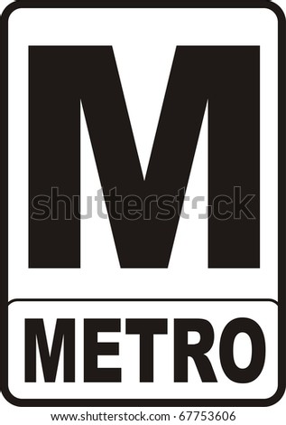 2d render of red Metro sign isolated on white - stock photo