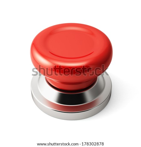 3d render of red push button. Isolated on white background