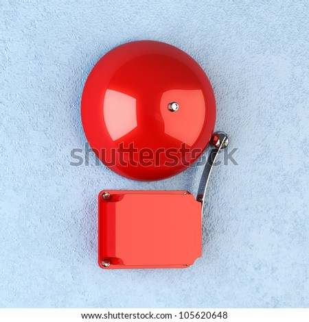 3d render of red retro alarm on blue wall - stock photo