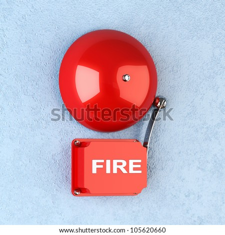 3d render of red retro fire alarm on blue wall - stock photo