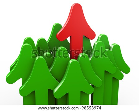 3d render of red rising arrow. Concept of unique, growth and leadership. - stock photo