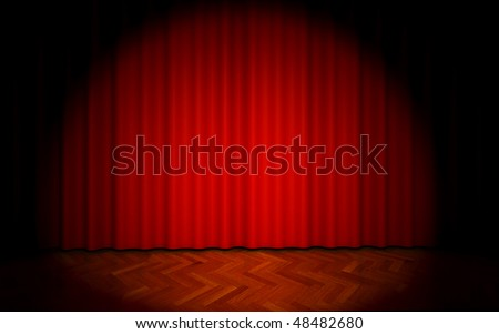 3D render of red theater curtain with spot lights - stock photo