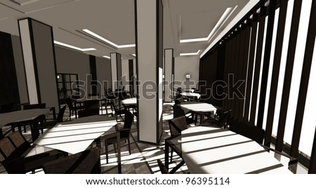 3d render of restaurant interior