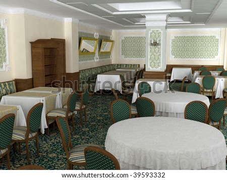 3D render of restaurant interior in baroque style