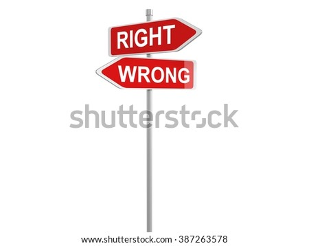 3d render of right and wrong concept roadsign board, 3d illustration - stock photo