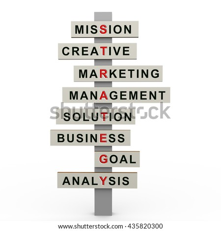 3d render of  roadsign signpost representing crossword of strategy and business success. - stock photo