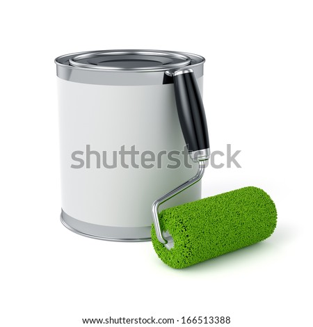 3d render of roller brush and can. Painter concept - stock photo