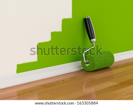 3d render of roller brush with part painted wall. Renovation concept - stock photo