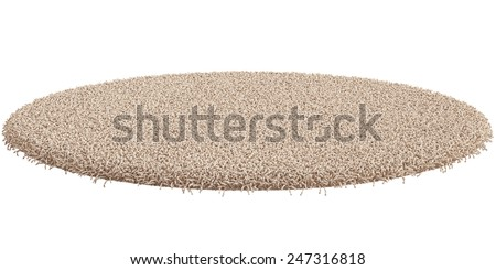 3d render of round carpet isolated on white background - stock photo