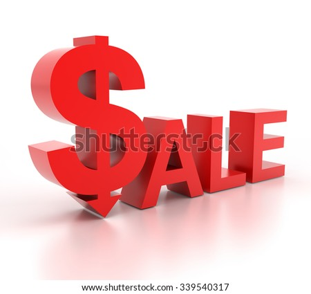 3d render of SALE with dollar sign, white background