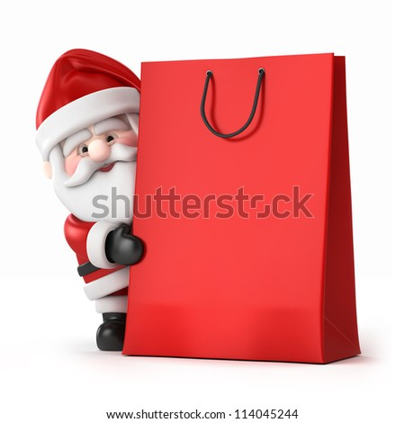 3d render of Santa Claus and a shopping bag - stock photo