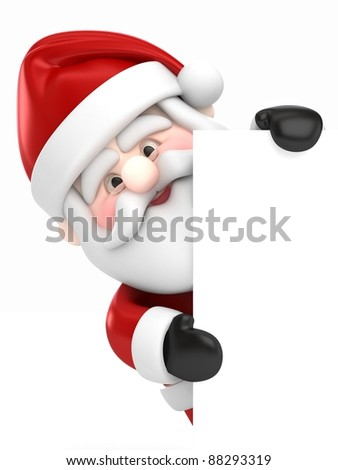 3D Render of Santa Claus holding a board - stock photo