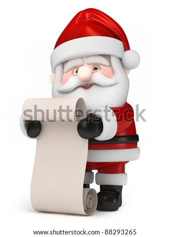 3D Render of Santa Claus holding a list