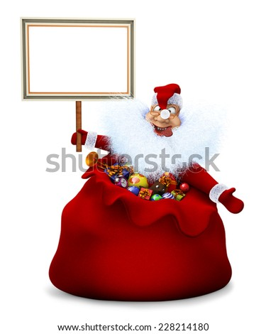 3d render of Santa Claus is in a bag and holds in a hand the announcement - stock photo