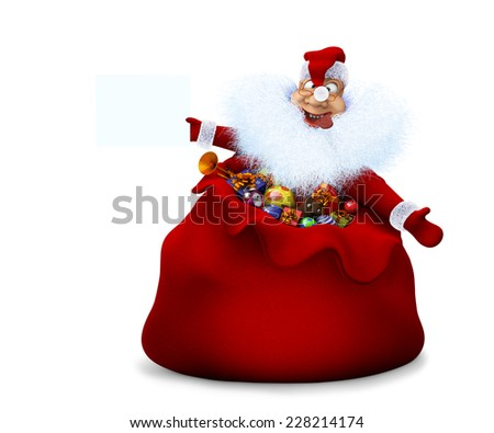 3d render of Santa Claus is in a sack and holds in a hand the announcement - stock photo