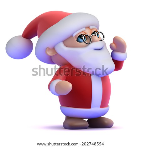 3d render of Santa Claus shouting to the left