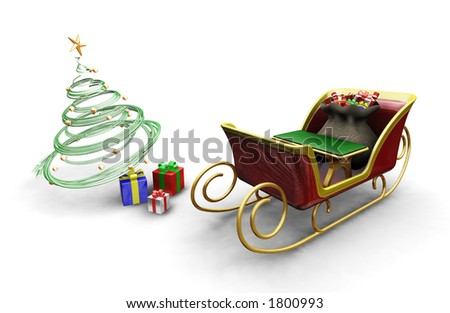 3D render of Santas sleigh with a Christmas tree and presents - stock photo
