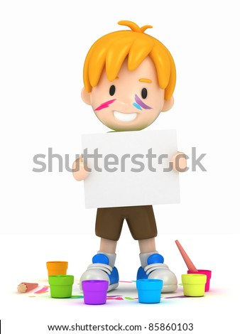 3D render of school kid with canvas - stock photo