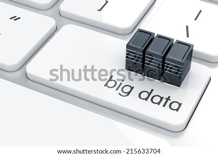 3d render of servers symbol icon on the keyboard. Big data concept  - stock photo