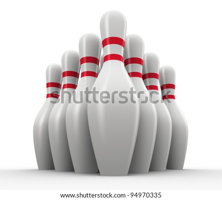 3d render of set of bowling skittles