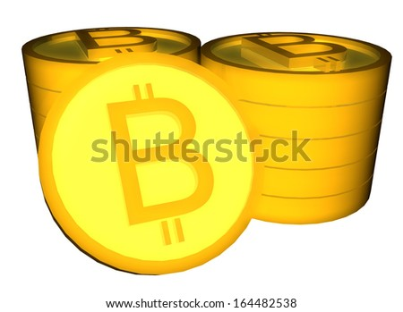 3D render of shiny bitcoins isolated over white - stock photo