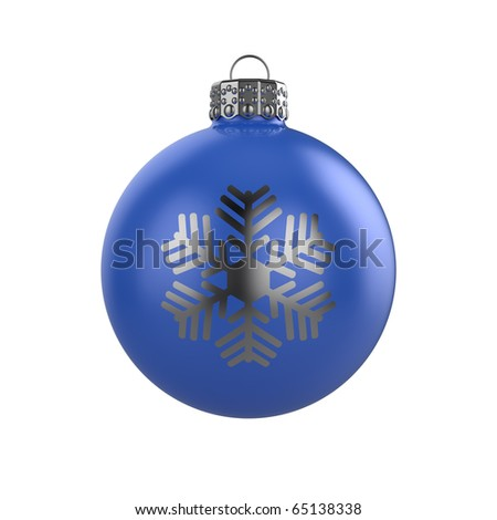 3d render of shiny blue xmas bauble with snowflake on white background - stock photo