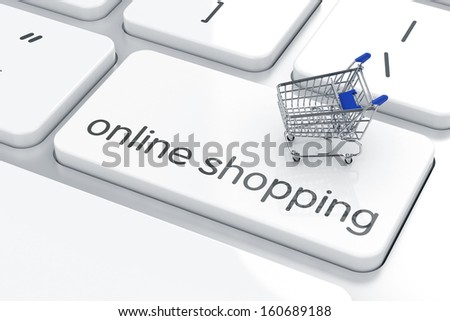 3d render of shopping cart icon on the keyboard. Online shopping concept