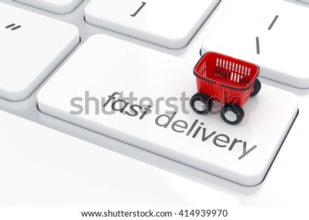 3d render of shopping cart with car toy wheels on white computer enter button keyboard. Fast delivery concept - stock photo