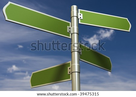 3D render of signs in front of blue sky (put in your own text) - stock photo