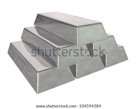 3d render of Silver bars on a white background - stock photo