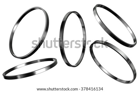 3d render of silver ring isolated on white background - stock photo