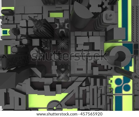 3D render of simplified city  - stock photo