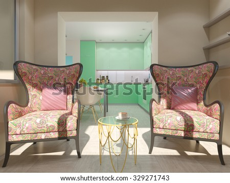 3d render of small apartments in pastel colors. Loggia with two chairs and a coffee little table