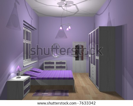 3d render of small purple bedroom