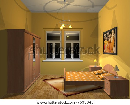 3D render of small yellow bedroom