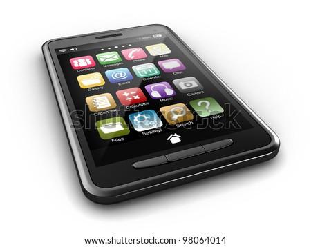 3D render of smart phone - stock photo