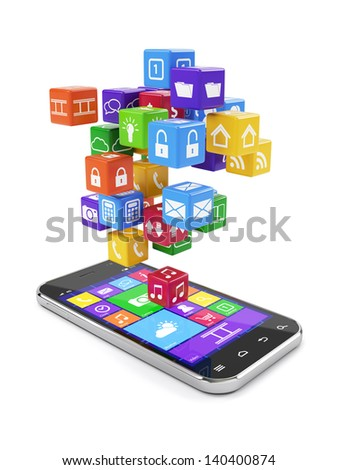 3d render of smartphone media concept isolated - stock photo
