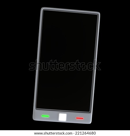 3D Render Of Smartphone On Black Background - stock photo