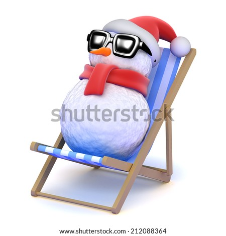 3d render of snowman sunbathing in a deckchair - stock photo